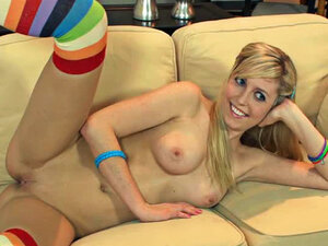 Blonde with big tits and knee socks