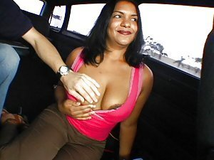 An older Indian lady gets into a van on the promise of getting a cock in her cunt