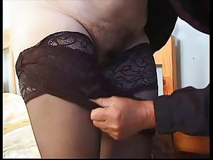 Hairy Chubby Granny in Stockings Fucks