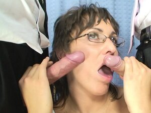 Sweet milf Helena is fucking with 3 cocks