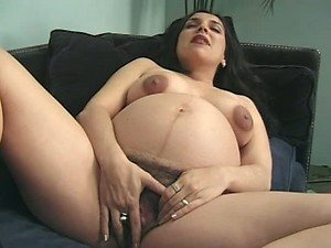 Hairy Pregnant Babe Masturbating Before Getting Fucked