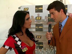 Busty Brunette Racer Jessica Jaymes Fucks The Reporter Before The Race