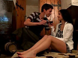 Sexy Brunette Russian Babe Loving Sex after a Glass of Wine