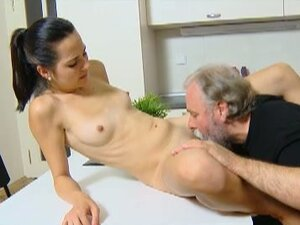 Teen gets banged by her boyfriend and an old dude