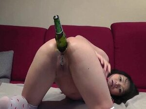 Asian Teen Stretching Her Asshole With A Big Bottle