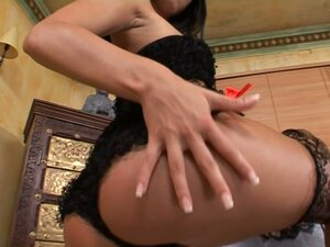Black haired cutie Cleopatra shows her sexy lingerie and wet cunt