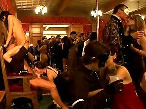 Hot couples fuck during a masquerade and get voyeurs watch them
