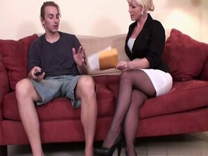 mature black nylon footjob