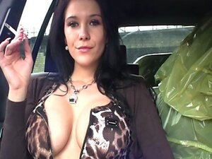 Smoking in her car