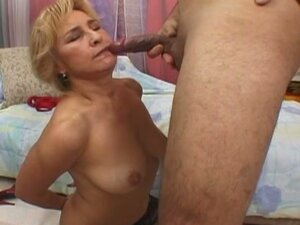 Dirty blonde granny in stockings fucked hard