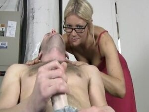 Nerdy blonde goes facial indoors