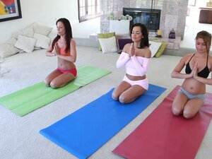 Yoga hookers Charmane Star , Daisy Marie and Kirsten Price getting naughty