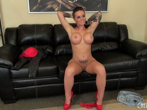 Christy Mack in red whore heels rubs her nasty beaver while growling