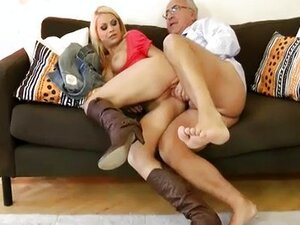 Boots blonde girl fucking old man