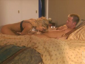 Blonde goddess Jessica Drake getting laid with her man in her bedroom