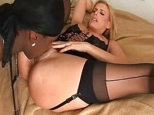 Trisha Rey watches sexy MILF Darryl Hanah overloaded with a black cock blast