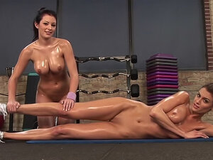Fit and slippery naked girls in gym
