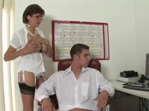 Mature stocking fetish british slut Lady Sonia jerks the hard cock of a lucky guy until he shoots his load