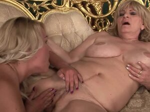 Nasty grannies Orhidea and Sally G. make out and eat each other's vags