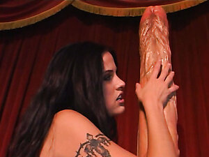 Brunette slut fucks herself. Deep dildo penetration