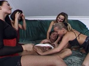 Four hot chicks and one lucky guy