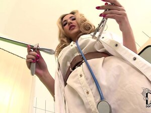 Sexy blonde doctor gets horny and decides to play with herself