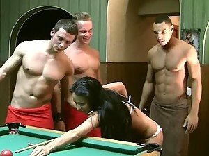 Brunette Beauty Double Penetrated in Gangbang on Billiard Table