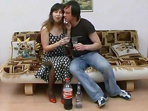 Drunken girl in pantyhose spreads her legs
