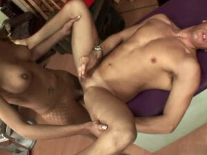 Busty tranny fucks a guy in his ass and sucks a cock