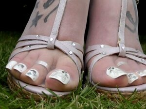 my pantyhose feet and sandals close up