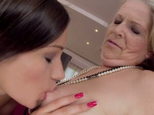 Horny Granny Got Fucked by a Beautiful Lesbian Teen's Strapon Dildo