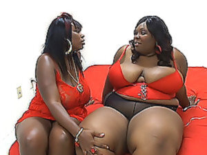 Two very fat ebony lesbians play dirty games on the bed