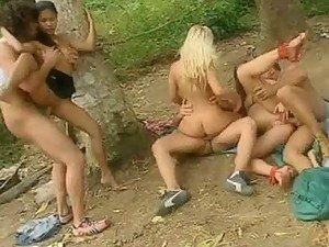 A Bunch Of Hotties Open Their Pussies For A Good Group Sex Fuck Outdoors