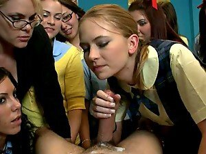 Girls In A Classroom Suck & Ride A Guys Dick.