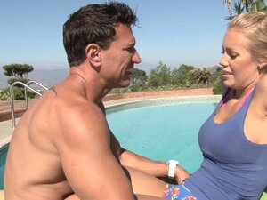 Busty babe Nicole Aniston is doing massage to her bf outdoors