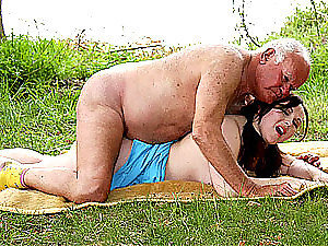 Old Fart Gets His Cock Sucked and Fucked By a Chubby Brunette Teen