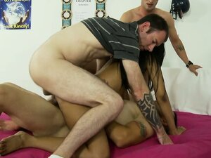 Hot university student gets double penetration, a good pussy fuck and a facial creampie