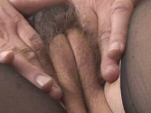 Busty hairy mature in sheer nightdress strips rips pant