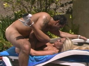 Hot blonde babe anally fucked on the pool