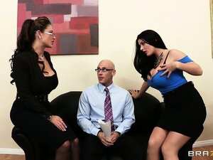 Job interview ends up with two hotties sucking on a huge cock