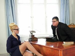 Stunning blonde office girl has rough sex in the office