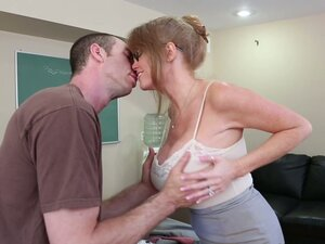 Horny school principal Darla Crane sucks the student's dick deepthroat in the office