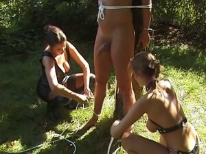 Nasty mistress plays with her slaves