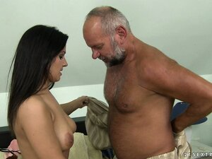 Tiana's big 'ol bear is a horny old man that likes his pussy young
