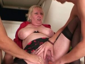 Granny whore fucks two young guys