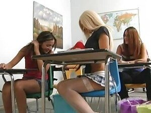 Naughty busty blonde schoolgirl flashing her ass in the classroom