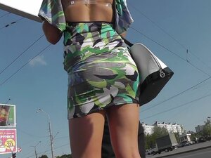 Gorgeous chick was upskirted outdoors