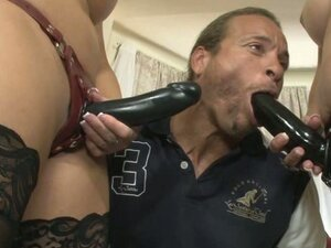 Joclyn Stone and Shay Fox let guy suck their strap on