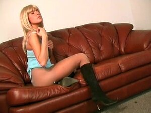 Blonde with sexy little tits solo in pantyhose