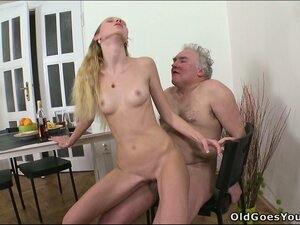 The old guy pounds her cunt from behind while Rosy sucks a young stud's shaft